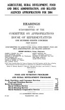 108-1 Hearings: Agriculture, Rural Development, Food and Drug Administration, and Ralated Agencies Appropriations For 2004, Part 8, March 20, 2003, *