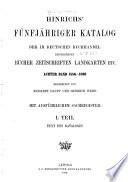 Hinrichs  Katalog     der im deutschen Buchhandel erscheinenen B  cher  Zeitschriften  Landkarten usw