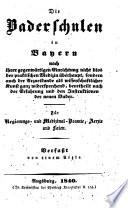 Die Baderschulen in Bayern