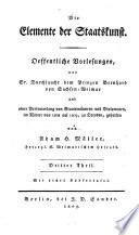 Die Elemente Der Staatskunst Oeffentliche Vorlesungen Etc book