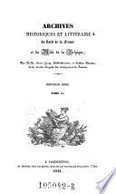 Archives historiques et litteraires du nord de la France et du midi de la Belgique