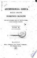 Archeologia greca dell abate Domenico Mancini