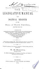 The Legislative Manual and Political Register of the State of North Carolina