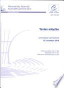 Assembl  e parlementaire   Textes adopt  s   Commission permanente 12 novembre 2010