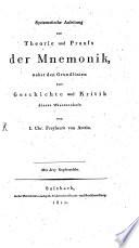 Systematische Anleitung zur Theorie und Praxis der Mnemonik