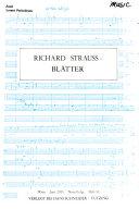 Richard Strauss Bl  tter
