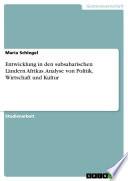 Entwicklung in den subsaharischen Ländern Afrikas. Analyse von Politik, Wirtschaft und Kultur