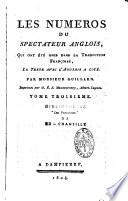 Les num  ros du spectateur anglois  qui ont   t   omis dans la traduction fran  oise  le texte avec l anglois    cot