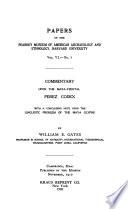 Commentary Upon the Maya Tzental Perez Codex