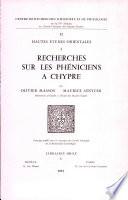 Recherches sur les Ph  niciens    Chypre