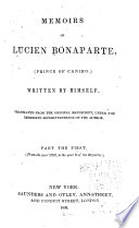 Memoirs of Lucien Bonaparte  Prince of Canino