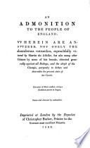 An Admonition To The People Of England Against Martin Mar Prelate book