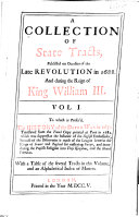 download ebook a collection of state tracts, publish\'d on occasion of the late revolution in 1688, and during the reign of king william iii. pdf epub