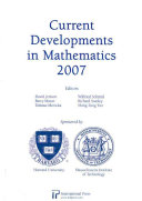 Current Developments in Mathematics