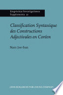Classification Syntaxique des Constructions Adjectivales en Coréen