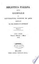 Biblioteca italiana, o sia Giornale di letteratura, scienze ed arti