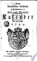 Seiner Churfürstlichen Durchleucht zu Pfalzbaiern ... Hof- und Staatskalender