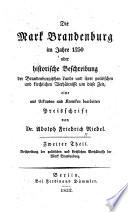 Die Mark Brandenburg im Jahre 1250[i.e.zwoelfhundertfuenfzig]