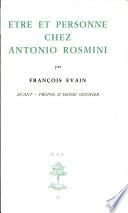 Etre et personne chez Antonio Rosmini