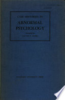 Case Histories In Abnormal Psychology book