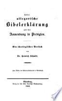 Ueber allegorische Bibelerklärung und ihre Anwendung in Predigten