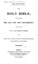 Book The Holy Bible, Containing the Old and New Testaments, According to the Authorized Version ...