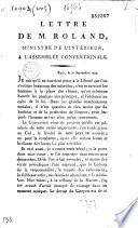 Lettre de M  Roland  ministre de l int  rieur     l Assembl  e conventionale  Paris  le 30 septembre 1792