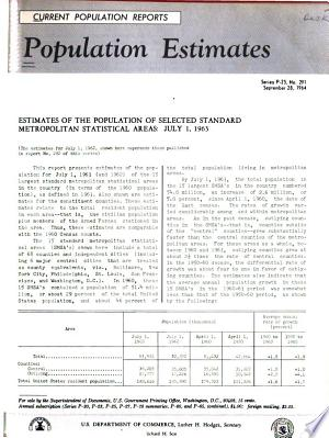 Current Population Reports: Population estimates and projections. Series P-25