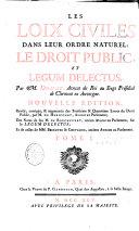 Les lois civiles dans leur ordre naturel - Le droit public et Legum Delectus