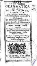 La novissima Grammatica delle tr   lingue italiana  francese e spagnuola