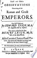Select and Choice Observations Concerning All the Roman and Greek Emperors