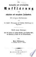 Die theologische und philosophische Aufklärung des achtzehnten und neunzehnten Jahrhunderts ...