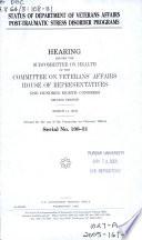 Status of Department of Veterans Affairs Post traumatic Stress Disorder Programs Book PDF