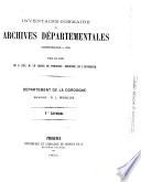 Inventaire sommaire des Archives d  partementales ant  rieures    1790  d  partement de la Dordogne