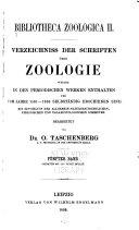 Bibliotheca zoologica [I] Verzeichniss der schriften über zoologie