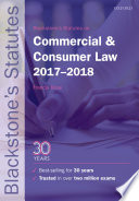 Blackstone s Statutes on Commercial and Consumer Law 2017 2018