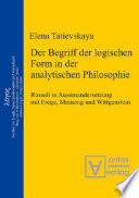 Der Begriff der logischen Form in der Analytischen Philosophie