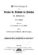 Mitteilungen des Vereins für Geschichte der Deutschen in den Sudetenländern