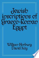 Jewish Inscriptions of Graeco Roman Egypt
