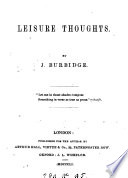 Leisure Thoughts In Verse  book