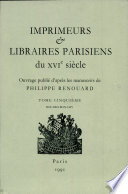 Imprimeurs & libraires parisiens du XVIe siècle