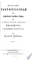 Literarisches Handwörterbuch der verstorbenen deutscher Dichter