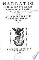 Narrationis amatoriae fragmentvm    Graeco in latinvm conversvm
