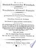 Neues Deutsch   Franz  sisches W  rterbuch