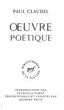 Œuvre Poétique : ...