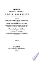 Origine Potenza E Caduta Degli Assassini     Prima traduzione Italiana Di Samuele Romanini