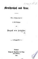 Menschenhass und Reue. Ein Schauspiel in fünf Aufzügen and in prose