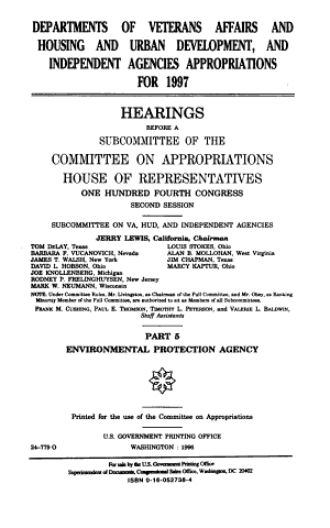 Departments of Veterans Affairs and Housing and Urban Development, and Independent Agencies Appropriations for 1997: Environmental Protection Agency