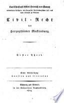 Zivilrecht Der Herzogthümer Mecklenburg