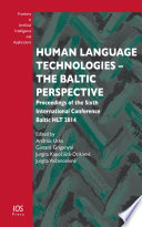 Human Language Technologies   The Baltic Perspective